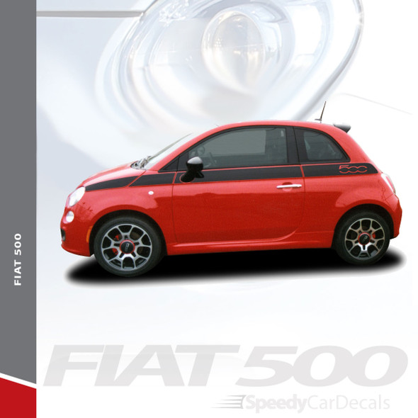 SE 5 : 2011-2019 Fiat 500 Upper Door Accent Striping Abarth Vinyl Graphics Stripes Decals Kit