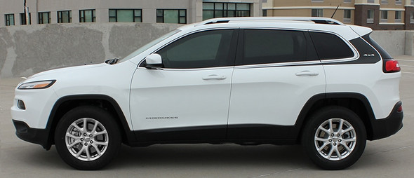 Driver Side of 2018 Jeep Cherokee Body Graphics WARRIOR 2014-2021