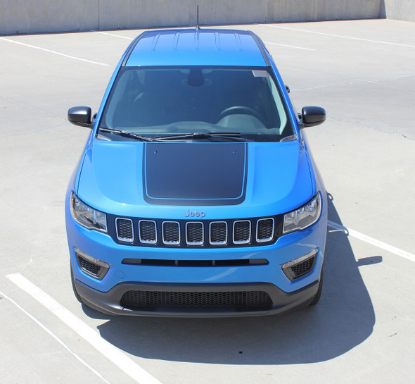 Front view of blue 2018 Jeep Compass Hood Graphics BEARING HOOD 2017-2020 2021