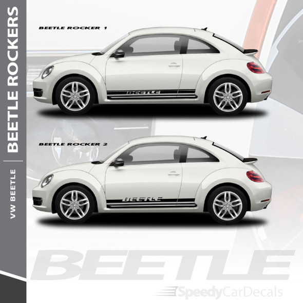 VW Beetle Graphics Kit ROCKER 1 Side Stripes Lower Decals 2012-2018 | 3M Wet Install and Dry Install