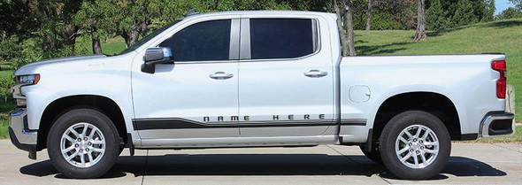 Close up of red and silver ROCKER ONE : 2019 Chevy Silverado Stripes Lower Door Decals Rocker Panel Vinyl Graphic Kit