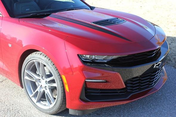 Front of Red Chevy Camaro 2019 Camaro Hood Decals WIDOW HOOD STRIPES 2019-2020