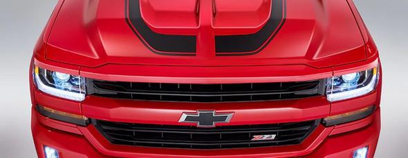 Hood of Red Hood Decals for Chevy Silverado FLOW HOOD 2016 2017 2018