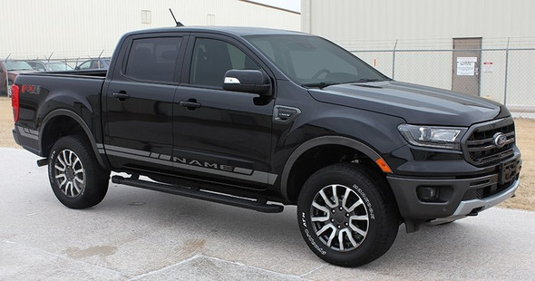Front Angle View of 2019 Ford Ranger Side Decals RAPID ROCKER STRIPES 2019-2020 2021