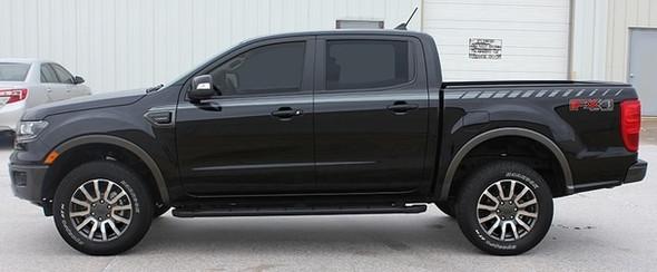 Side Profile View of Black 2019 Ford Ranger Stripes UPROAR SIDE DECALS 2019 2020 2021