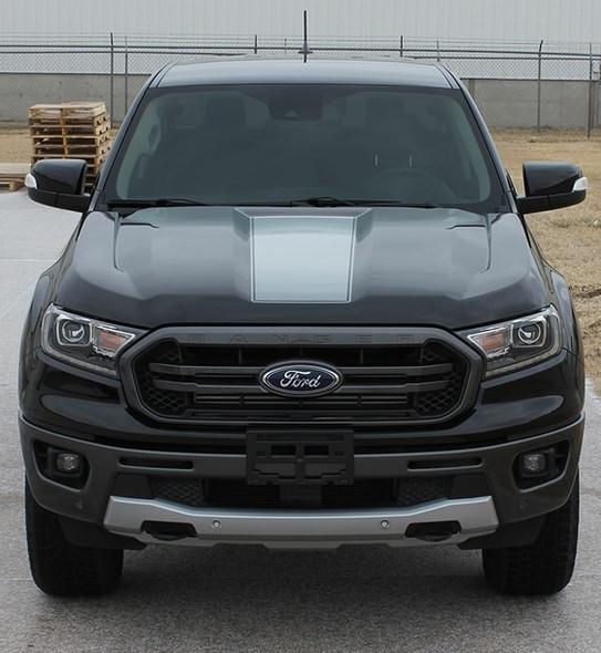 Front of Black Ford Ranger VIM Hood Stripes 2019 2020 2021 2021