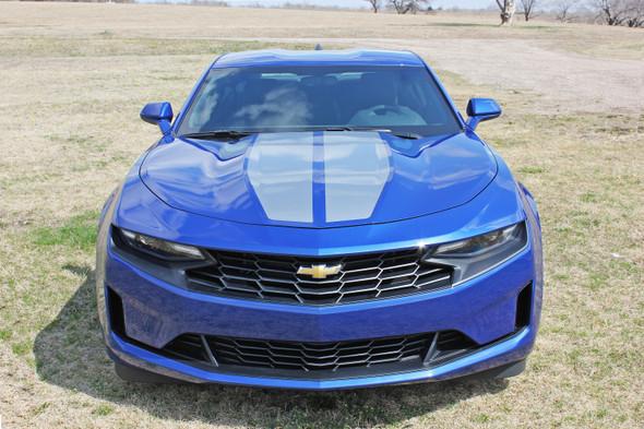 Silver Stripe on Blue Camaro | 2019 Chevy Camaro Center Stripes REV SPORT 2019-2020