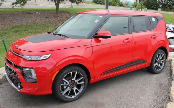 Front View of Red 2021-2020 Kia Soul Side Door Stripes SOULED ROCKER Kits