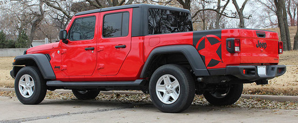 Side of red BOOTSTRAP Jeep Gladiator Side Star Vinyl Graphics Decal Stripe Kit for 2020-2021