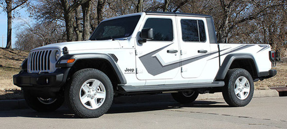 Side of white PARAMOUNT DIGITAL Jeep Gladiator Side Digital Graphics Decal Stripe Kit for 2020-2021