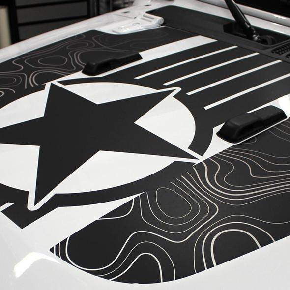 Close up of JOURNEY HOOD 2020-2021 Jeep Gladiator Hood Star Digital and Decals Vinyl Graphics Stripe Kit