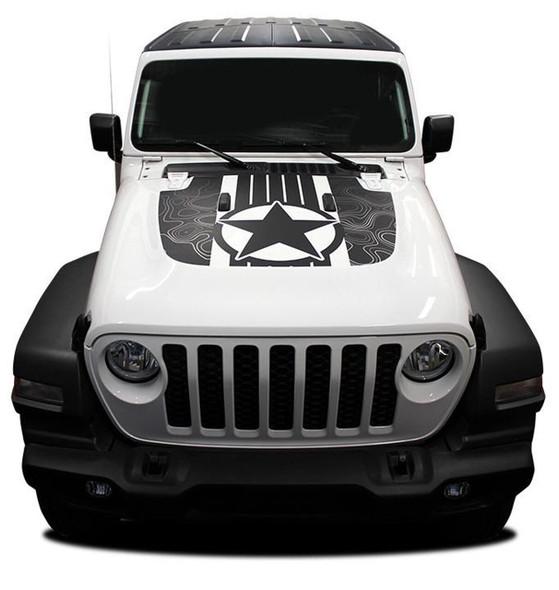 Front hood of white Jeep Wrangler Hood Decals JOURNEY HOOD JL 2018-2020 Digital Print or Avery Supreme or 3M 1080 Wrap Vinyl