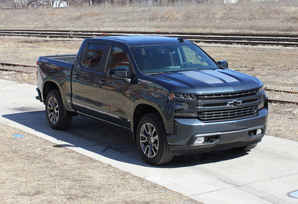 Front side view of 2020 Chevy Silverado Racing Stripes BOW RALLY 2019-2021