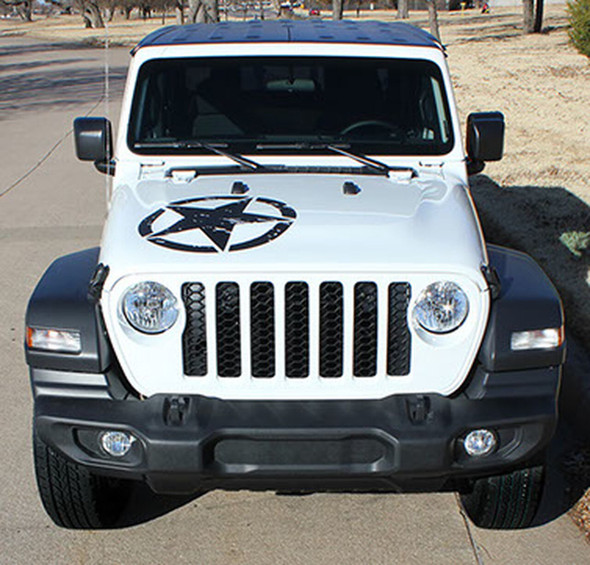 LEGEND HOOD : Jeep Gladiator Hood Decals with Star Vinyl Graphics Stripes for 2020-2021