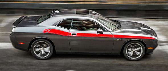 Side of red 2020 Dodge Challenger Side RT Stripes DUEL 15 Shaker 2015-2021