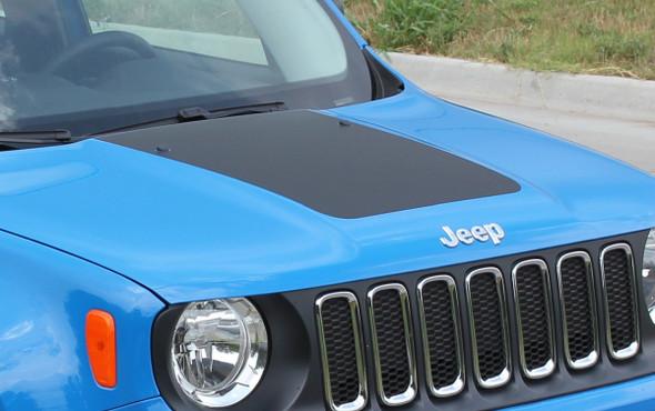 Front angle of 2014-2021 Jeep Renegade Hood Stripes RENEGADE HOOD