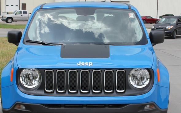 Front View of New! TRAILHAWK style Jeep Renegade Hood Stripes 2014-2021