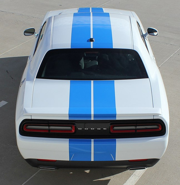 Rear of white NEW! RT, Hellcat, Scat Pack Dodge Challenger Rally Stripes 2015-2020 2021