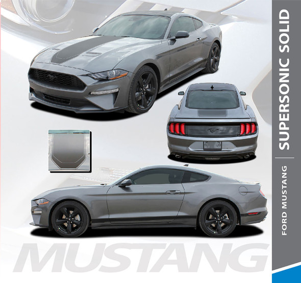 2021 Ford Mustang Racing Stripes SUPERSONIC MACH 1 Style Hood Trunk Rocker Rally Stripes Vinyl Graphics Decals Kit 2018 2019 2020 2021