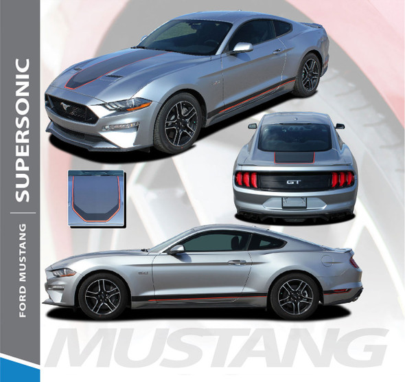 2021 Ford Mustang Racing Stripes SUPERSONIC MACH 1 Style Digital Print Hood Trunk Rocker Rally Stripes Vinyl Graphics Decals Kit 2018 2019 2020 2021