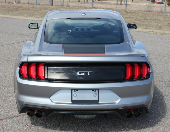 Rear of silver 2020 Ford Mustang Stripes SUPERSONIC KIT Digital Print 2018-2021