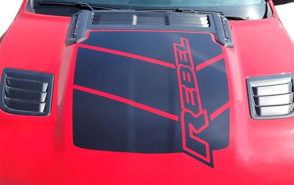 Front Hood View of Red 2021 Ram 1500 Rebel Hood Stripes REB HOOD 2019 2020 2021 2022