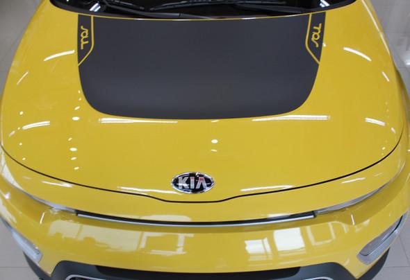 Hood of Yellow 2021 Kia Soul Vinyl Graphics SOULPATCH STRIPE KIT 20 2020-2022