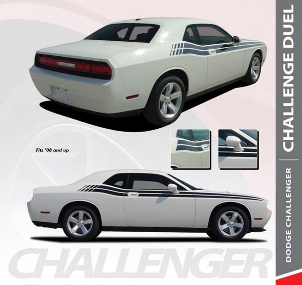 Dodge Challenger DUEL Upper Door Split Strobe Vinyl Graphic Decal Stripe Kit 2008 2009 2010 2011 2012 2013 2014 2015 2016 2017 2018 2019 2020