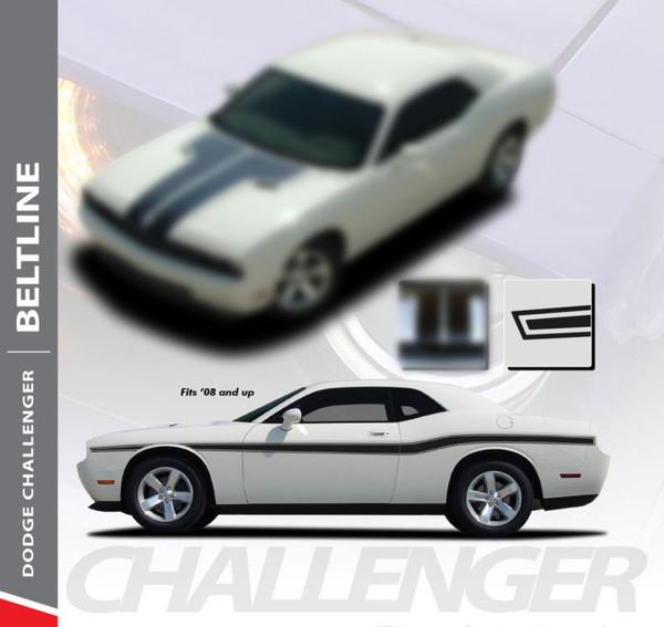 Dodge Challenger BELTLINE Mid-Body Line Accent Stripe Vinyl Graphics Decals Kit for 2010 2011 2012 2013 2014 2015 2016 2017 2018 2019 2020
