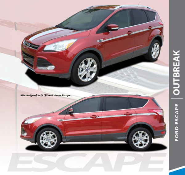 Ford Escape OUTBREAK Body Line Vinyl Graphics Decal Stripe Kit for 2013 2014 2015 2016 2017 2018 2019
