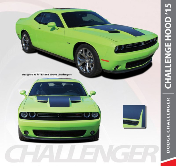 Dodge Challenger HOOD 15 Factory OE Style R/T Vinyl Hood Racing Stripes for 2015 2016 2017 2018 2019 2020