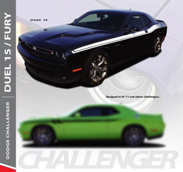Dodge Challenger DUEL 15 Upper Door Split Strobe R/T Vinyl Graphic Decal Stripe Kit 2011 2012 2013 2014 2015 2016 2017 2018 2019 2020