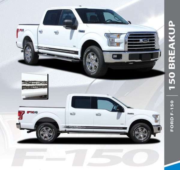 Ford F-150 BREAKUP ROCKER Lower Door Rocker Panel Body Stripes Vinyl Graphic Decals 2015 2016 2017 2018 2019