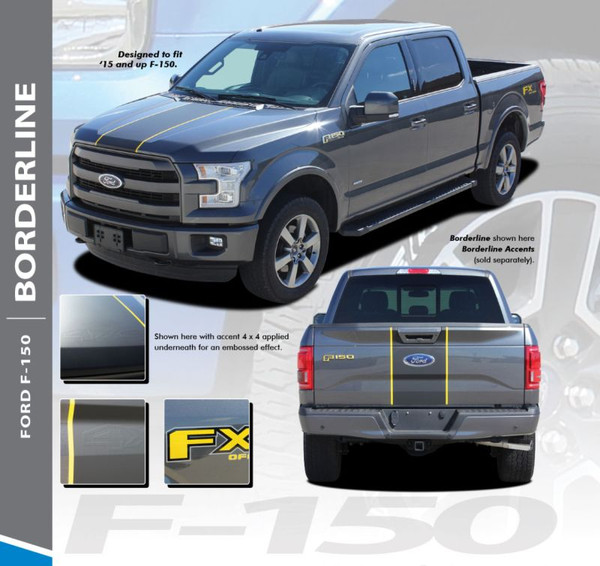 Ford F-150 BORDERLINE Center Racing Stripes with Outline Vinyl Graphics and Decals Kit for 2015 2016 2017 2018 2019