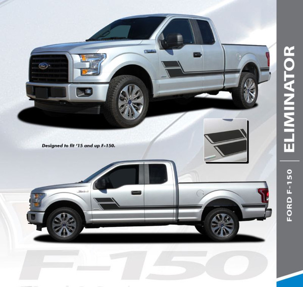 Ford F-150 ELIMINATOR Side Door Hockey Stick Rally Stripes Vinyl Graphics Decals Kit for 2015 2016 2017 2018 2019