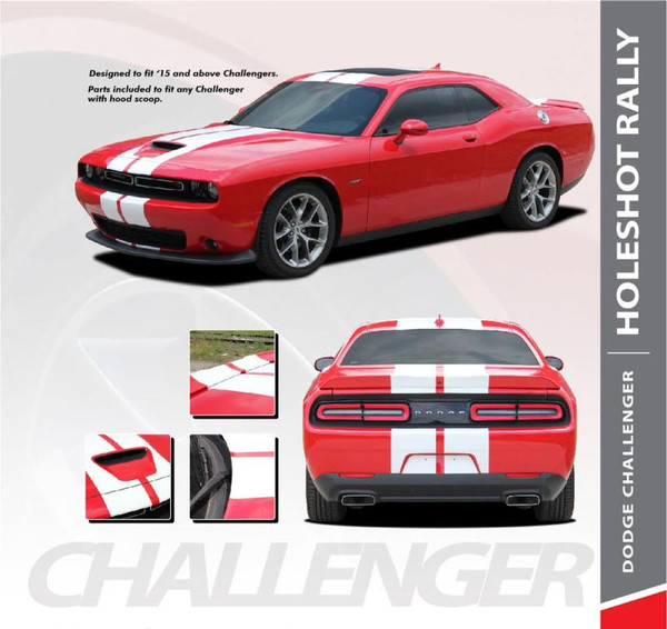 Dodge Challenger AIRSCOOP RALLY SRT Hellcat Racing Stripes 10 inch Vinyl Graphics Rally Stripes Decals Kit 2015 2016 2017 2018 2019 2020