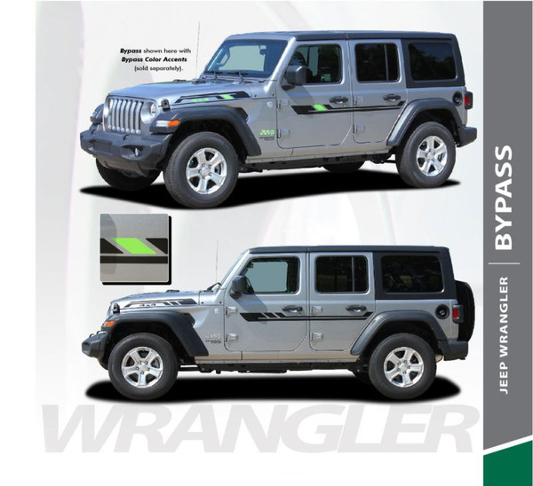 Jeep Wrangler BYPASS Side Door Decals Body Stripes Vinyl Graphics Kit for 2018-2020 Models