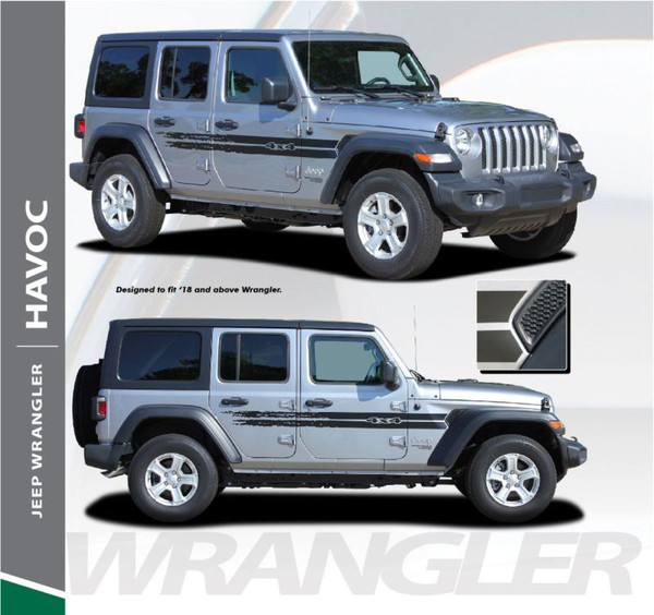 Jeep Wrangler HAVOC Side Door Decals Body Stripes Vinyl Graphics Kit for 2018-2020 Models