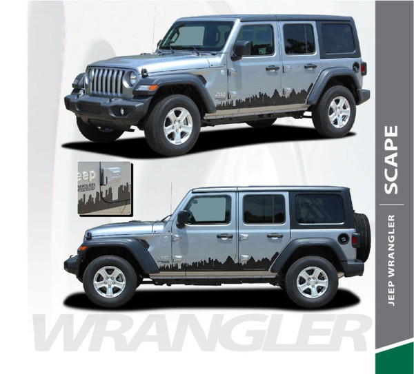 Jeep Wrangler SCAPE Side Door Decals Body Stripes Vinyl Graphics Kit for 2018-2020 Models