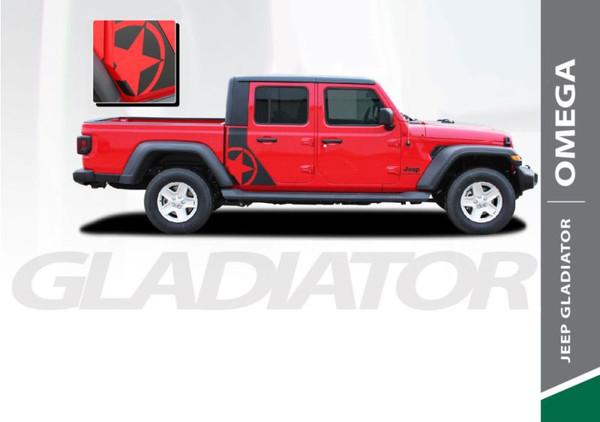 Jeep Gladiator OMEGA Side Body Vinyl Graphics Decal Stripe Kit for 2020 2021 Models