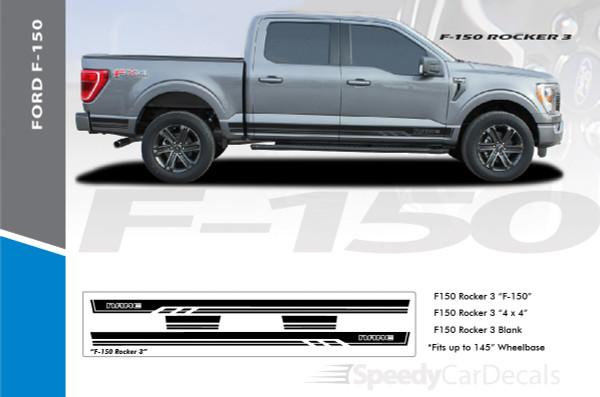 2021 Ford F150 Rocker Side Stripes Decals 150 ROCKER THREE Premium Auto Striping