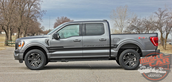 Side of Grey 2021 Ford F150 Stripe Graphics Package SWAY SIDE KIT 2021