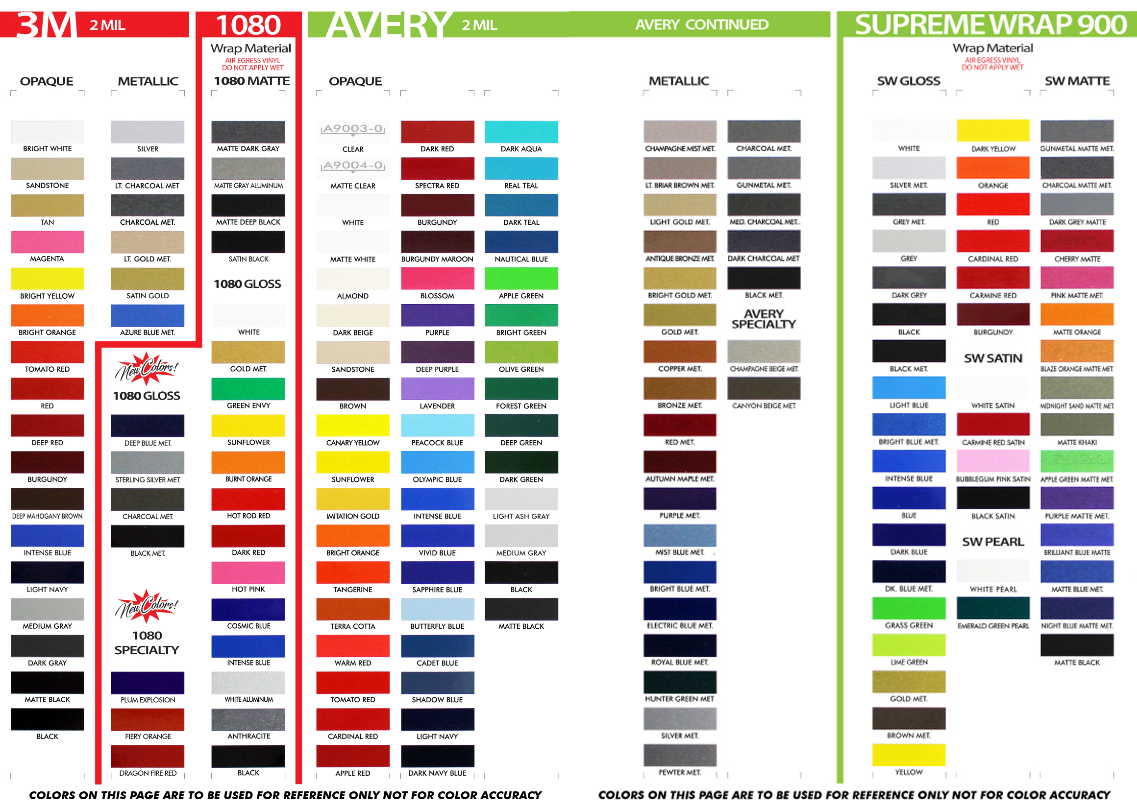 3M Pro Series and 3M 1080 Air Release Color Options - Wet and Dry Installation Vinyl