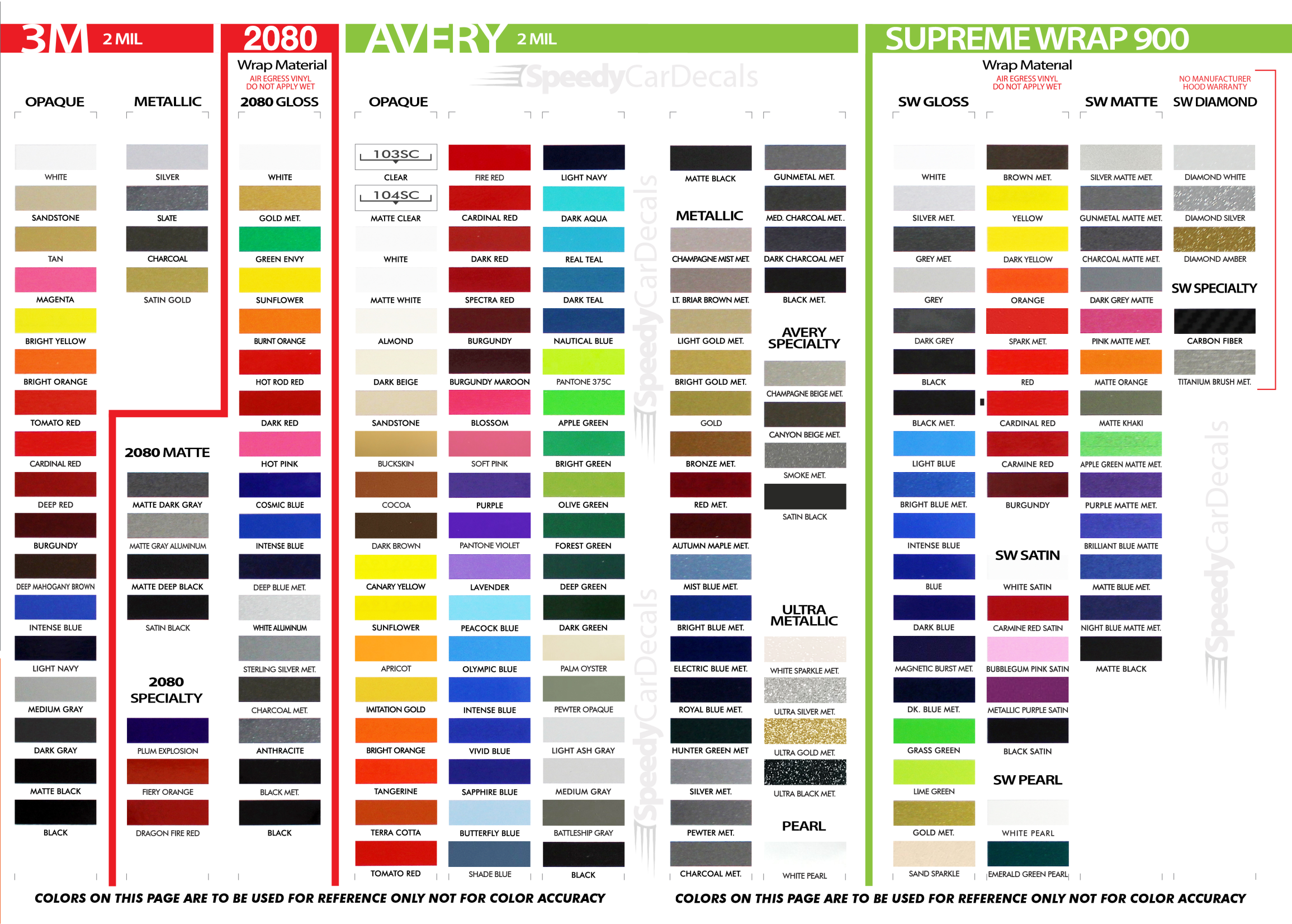 3M Pro Series and 3M 2080 Air Release Color Options - Wet and Dry Installation Vinyl