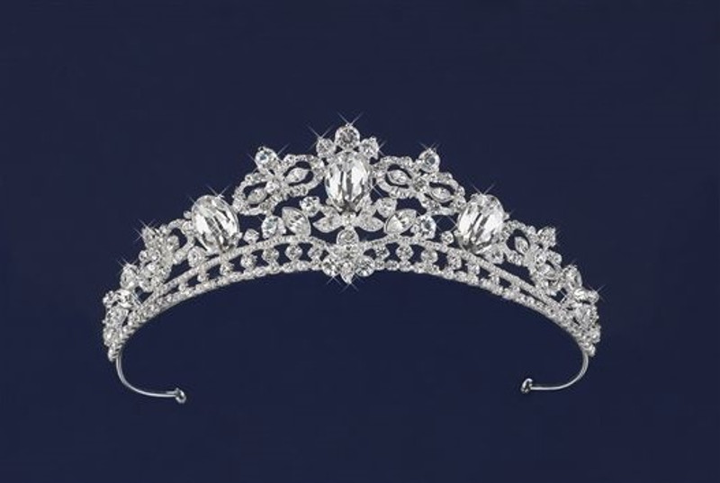 This tiara is 1 3/4 inch in height. Rich design with marquise czech rhinestones accentuated by three 3/4 x 1/2 inch solid rhinestones.