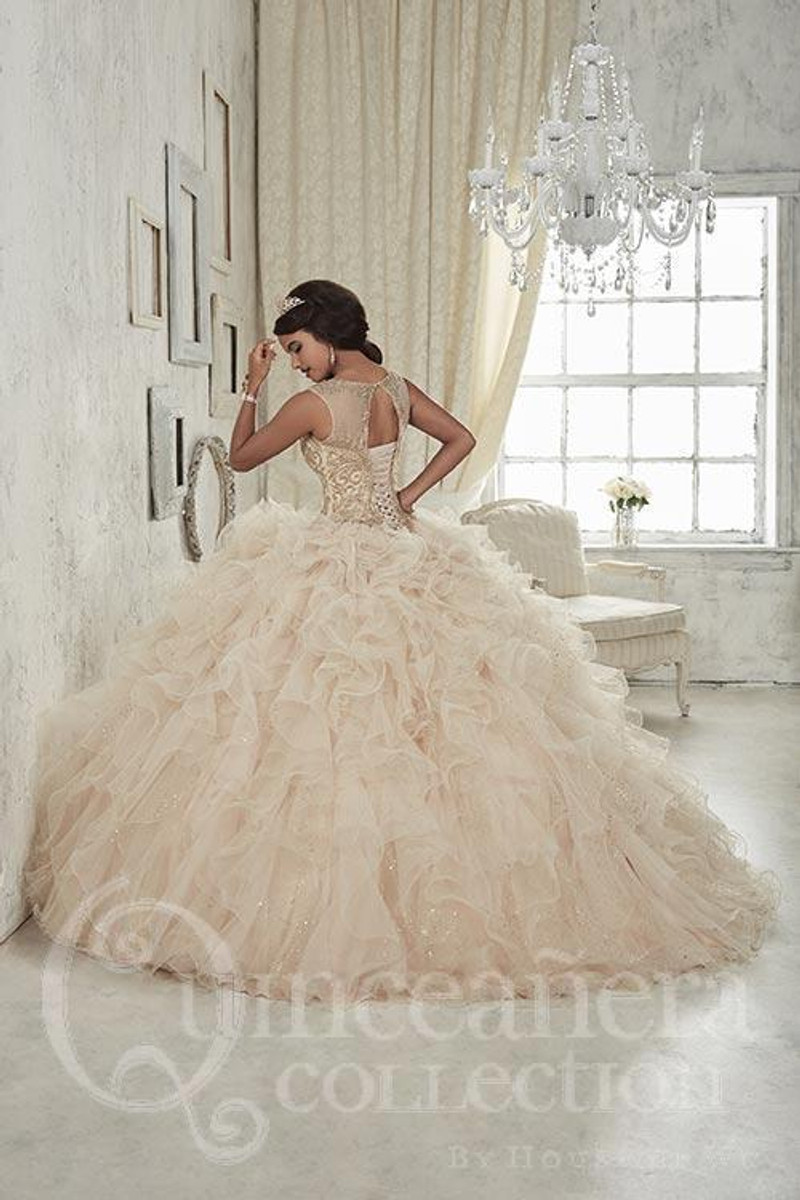 This Quinceanera dress has a beautiful corset back.