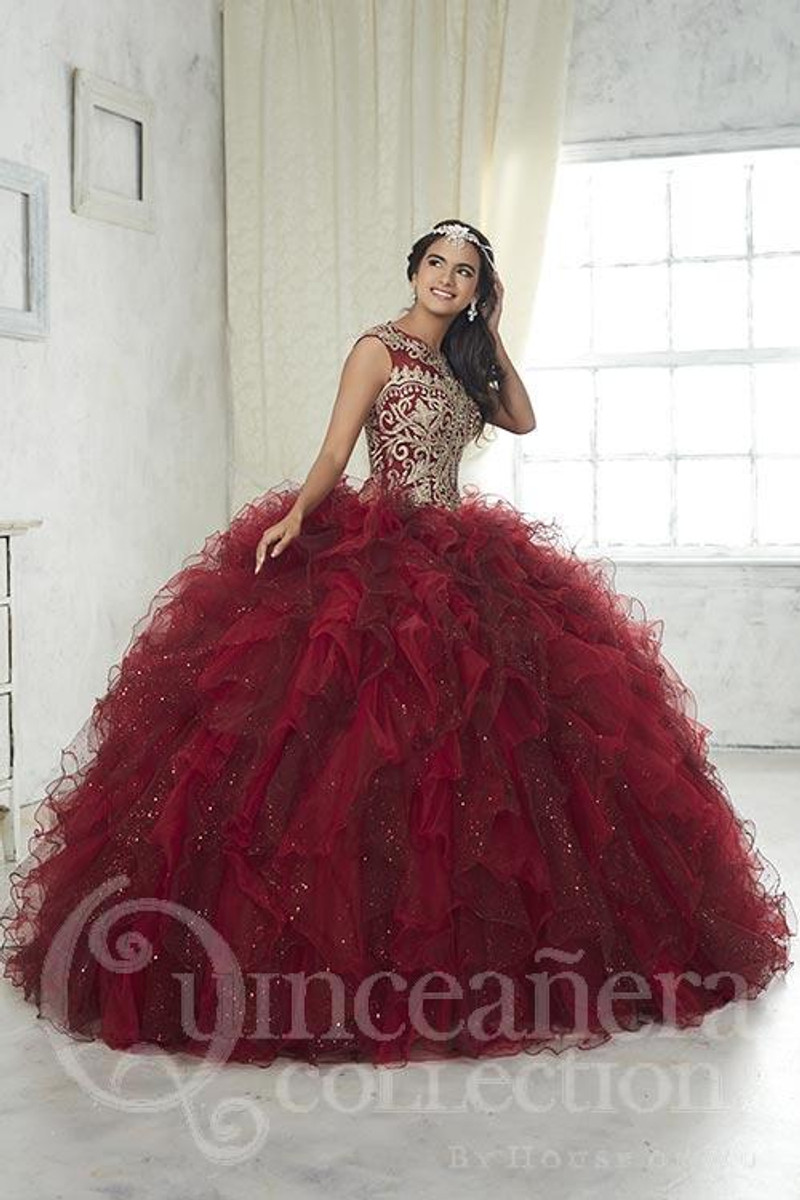 This quince dress is available in burgundy and gold.
