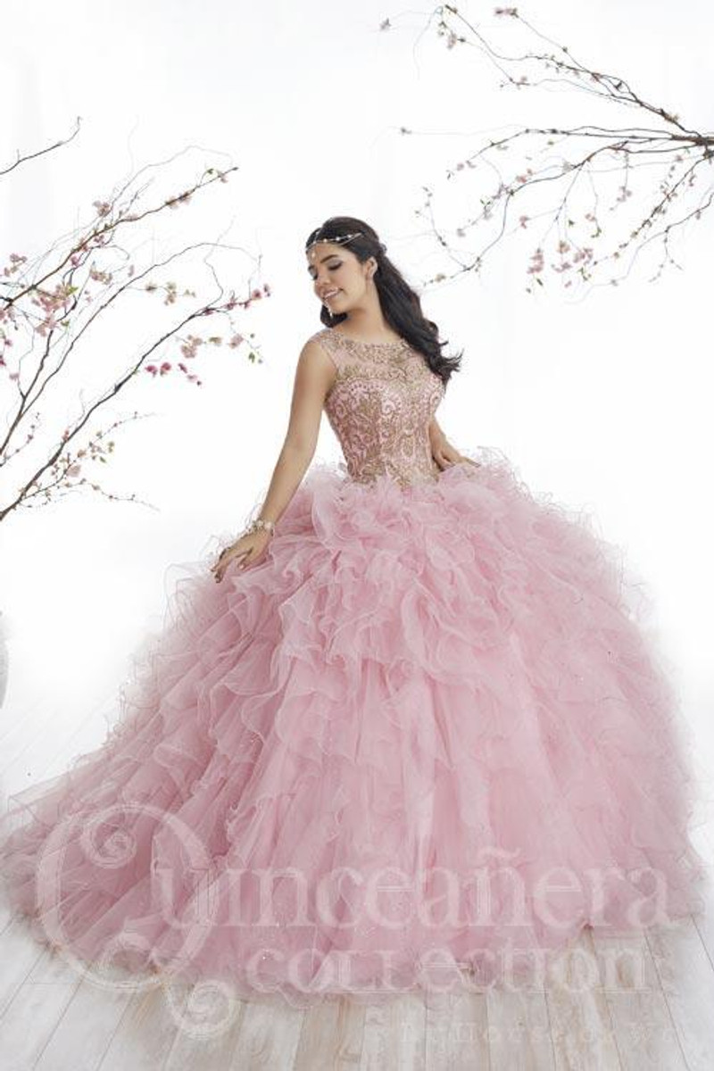 This Quinceanera dress is available in pink and gold.