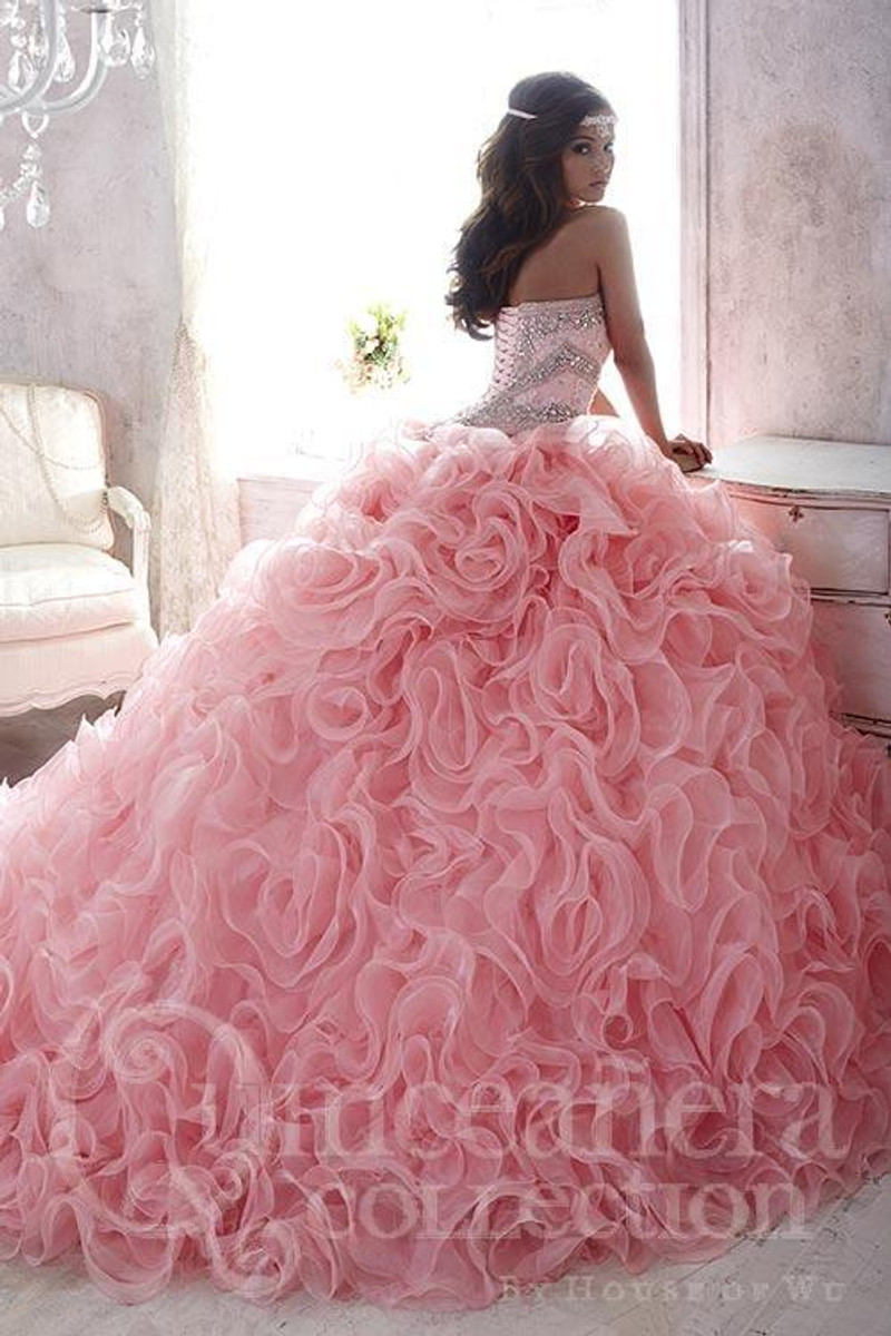 Quinceanera dress with train.