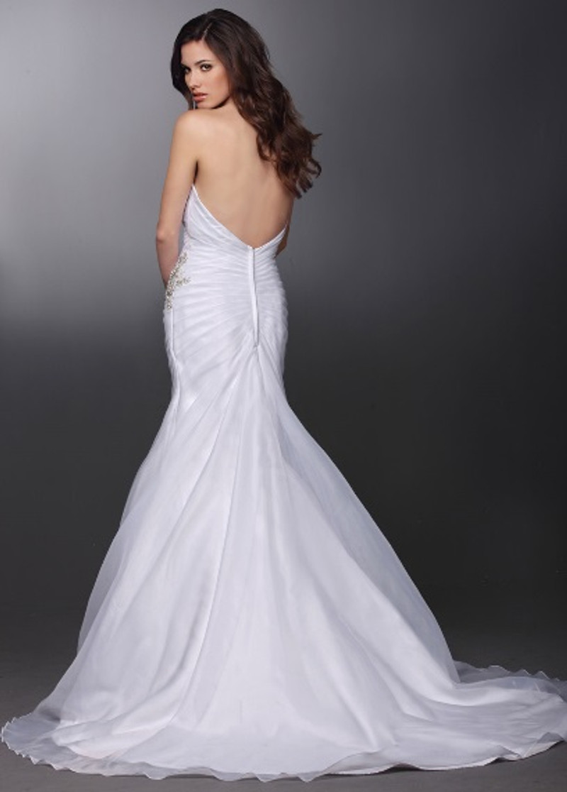 Low back wedding dress.